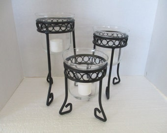 Black Wrought Iron candle holders with drop glass votives and candles no markings