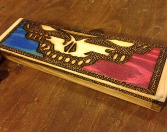 Grateful Dead HALF Stealy Face Wood Burned Wooden Box