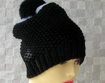 Beanie Hat for Men, A black and gray knit beanie, the dark pom on top sets this one apart, Knit Accessories for Men