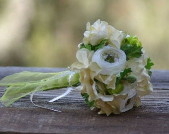 Maids or Toss Hops Bridal Bouquet Ivory Silk Ranunculus and Green
