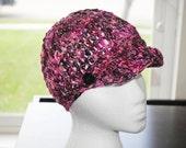 rock & roll crochet brim hat made with hand spun superwash merino