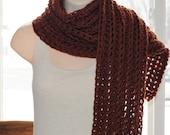 "cinnamon spice pumpkin chunky crochet long open scarf 100% superwash wool 80"""