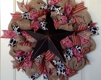Lone Star Wreath - Texas Wreath - Country Home Decor - Rustic Decor