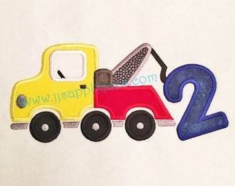 Tow Truck with number 2 Digitized Embroidery Applique Designs - 4x4, 5x7, and 6x10 hoops - Instant Download