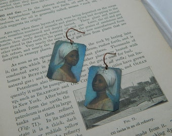 Art earrings Jean-Étienne Liotard Portrait of a young lady mixed media jewelry wearable art