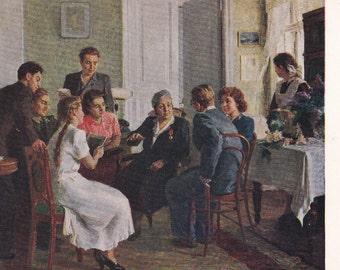 Socialist realism Russian vintage postcard (1954), I. Lingleben Among former students, Soviet art print, genre art teacher