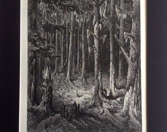 1870 FONTAINE FABLES Antique STAG Engraving Gustave Doré 1st Edition Enchanted Forest