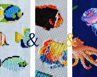 modern cross stitch pattern, 3 Fish cross stitch set, contemporary embroidery, diy hoop art, counted cross stitch, hawaii diy