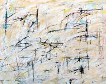 4-26-16 (LARGE 4' x 3'  abstract expressionist painting on canvas, black, white, cream, gray, blue, yellow)