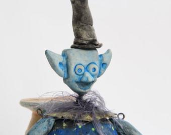 Handmade Art Doll Mixed Media Doll Steampunk Doll Boxtroll Hat Alien Doll