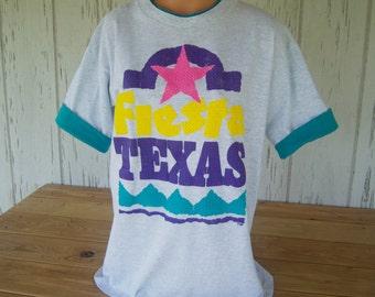 Vintage Ladies Fiesta Texas T-Shirt, Souvenir Shirt, Size Large, 100% Cotton, Circa: 1980's
