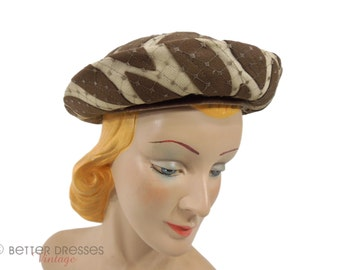 60s Brown and Cream Breton Hat | Mod Hat With Leaf Design