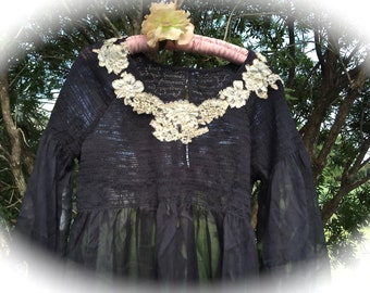 Victorian Gothic Romance Black Butterfly Tunic Delicate Sheer W/Bridal Lace Unique XL