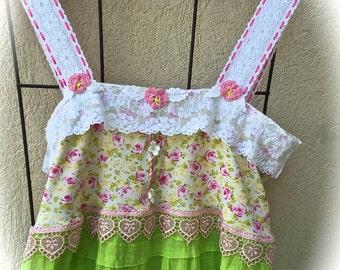 Izzy Roo Lime Blossoms Fairytale Dress Sweetheart Shabby Chic Ruffled Swirly