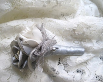 Silver Grey and Ivory Satin Boutonniere Groom Groomsmen Usher Father of the Bride Prom With Rhinestone Accent..Custom