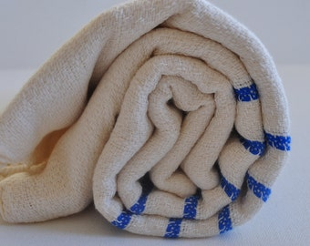 Turkish Bath Towel Hand Loomed tthick Bamboo Peshtemal Towel Blue Striped Soft, genuine handloomed