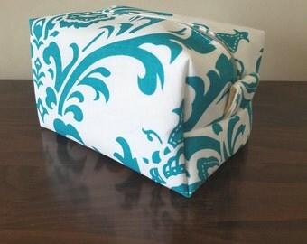 Turquoise Damask Makeup Bag - Water Resistant Cosmetic Bag