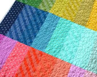 Rainbow Quilt - Lap Quilt - Toddler Quilt - Crib Quilt - Rainbow Blanket - Cotton and Steel Fabric