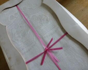 French Vintage Damask Tablecloth & 12 Napkins, Unused Circa 1910ish