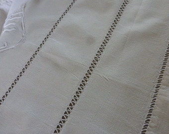 Pure Linen Sheet, Beautiful Antique French,  Mono, P.M. Circa 1920 ish