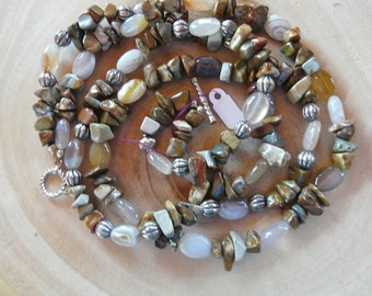 SALE!  23 Inch Double Strand Brown and Cream Ocean Jasper and Agate Necklace with Earrings