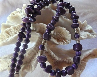 27 Inch Royal Purple Quartzite and Lepidolite Necklace with Earrings
