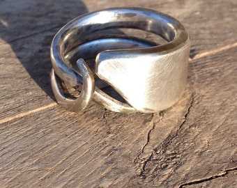 Silver FORK RING fork JEWELRY Forge to Eternity Original design promise ring for her select size 7-8 Silver plated Unique Design Steam Punk