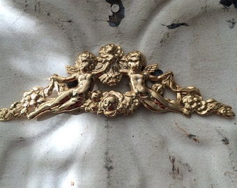 Twin Cherubs Brass Stamping. Cherub Garland Brass Finding. Two Per Lot