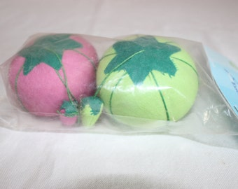 Pink and Green Tomato Pincushions