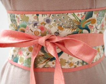 coral pink Dupioni silk - Obi Belt - Japanese belt - Figure slimmer  - reversible Cherry Blossoms and peacocks: ivory/gold metallic