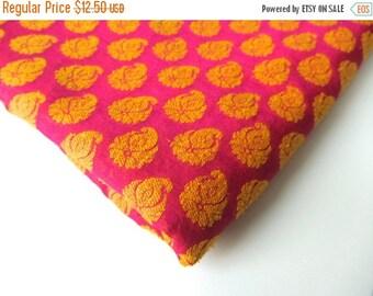 ON SALE Fuchsia pink yellow paisley flame on fuchsia India velvet silk fabric nr 187 fat quarter