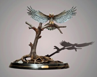 """Gorgeous """"Great Horned Owl"""" Sculpture Bronze Figurine by Barry Stein"""
