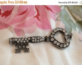 Key to My Heart Pendant, Art Deco Revival, Rhinestone Vintage Jewelry, Gift for Her SPRING SALE