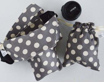 Cute Women's DSLR Camera Cozy Bag + Matching Camera Strap + Padded Lens Bag BUNDLE | Cotton Duck Designer Polka Dot | Free Domestic Shipping