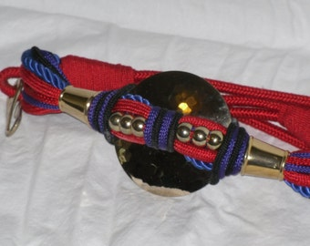Twisted Rope Belt Red & Purple with Hammered Gold Medallion Vintage