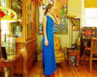 Vintage 60s Madonna Blue Brocade Sheath . Luscious Jewel Tone Color . Elegant Evening Gown . Chic Prom Formal . made in Hawaii . size 16 .