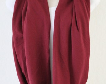 Classic Maroon Knit Infinity Scarf, Loop Scarf, Circle Scarf