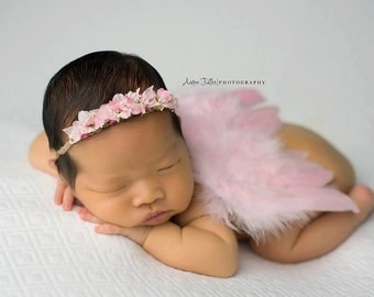 Baby Girl Light Pink Feathered Angel Wings - Perfect Newborn or Maternity Photo Prop