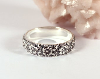 Floral Patterned Silver Band Ring, Sterling Silver, Made to Order
