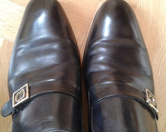 "2017 SALE! MAN Vintage Early 1980S shoes, ""CAMPANILE 1878"", black loafers, Size Eu 40/41  Us 7/8  Uk 6/7 Circa"