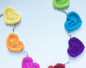 Rainbow Crochet Hearts Garland/ Rainbow Heart Banner With Black + White Twine