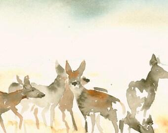 Watercolor Print Deer Landscape
