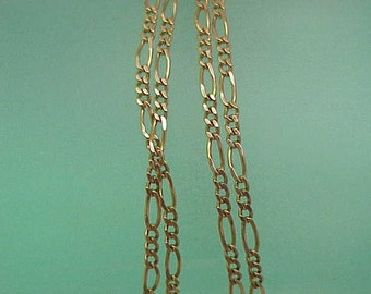 "Unisex Vintage Estate Italy 14k Yellow Gold  Figaro Chain Necklace,26"" Italy"