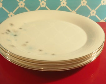 Atomic Star Dinner Plates Set Of 4 Princess China Star Shower Tru Tone Empcraft Vintage 1960s
