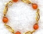 Genuine Amber Gold Filled Bracelet, Signed Amber Guild