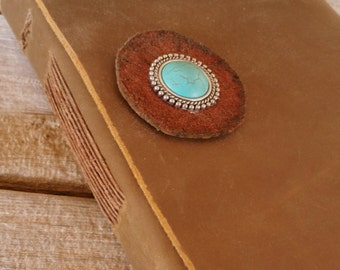 Chocolate Brown Handmade Heirloom Leather Journal w/ Turquoise Concho Flower