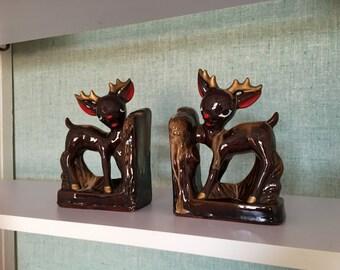 reindeer bookends, Japanese ceramics, vintage Japan book ends