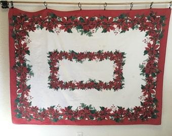 Vintage Tablecloth, Christmas Tablecloth, Poinsettia Tablecloth, Vintage Poinsettia, Christmas Poinsettia