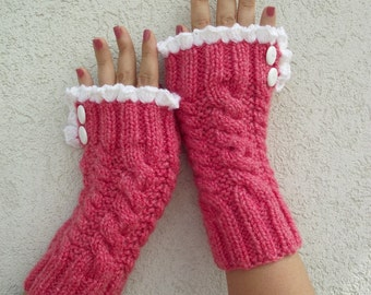 KNITTING PATTERN Mittens -Grace and Lace - Knit mittens fingeless mittens pdf Pattern Instant Download knit romantic mittens vintage look