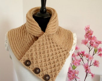 KNITTING COWL PATTERN - Honey Waffle Cowl - Scarf Pattern pdf pattern Instant Download Patterns Cozy Woman Cowl with buttons